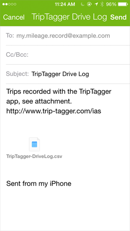 send drive log by email triptagger